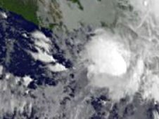 This GOES-11 satellite image from Oct. 13 at 8 a.m. EDT, shows Tropical Depression 12E was inland over southeastern Mexico.
