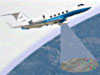 Artist's concept of a Gulfstream aircraft in flight with a scanning instrument aimed at the ground