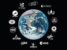 Image of Earth with ISECG parter logos surrounding it
