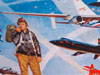 An artist's drawing of a man in a flight jacket with airplanes in the background