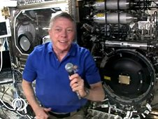 Expedition 29 Commander Mike Fossum encouraged students to participate in the YouTube Space Lab contest via a broadcast from aboard the International Space Station.