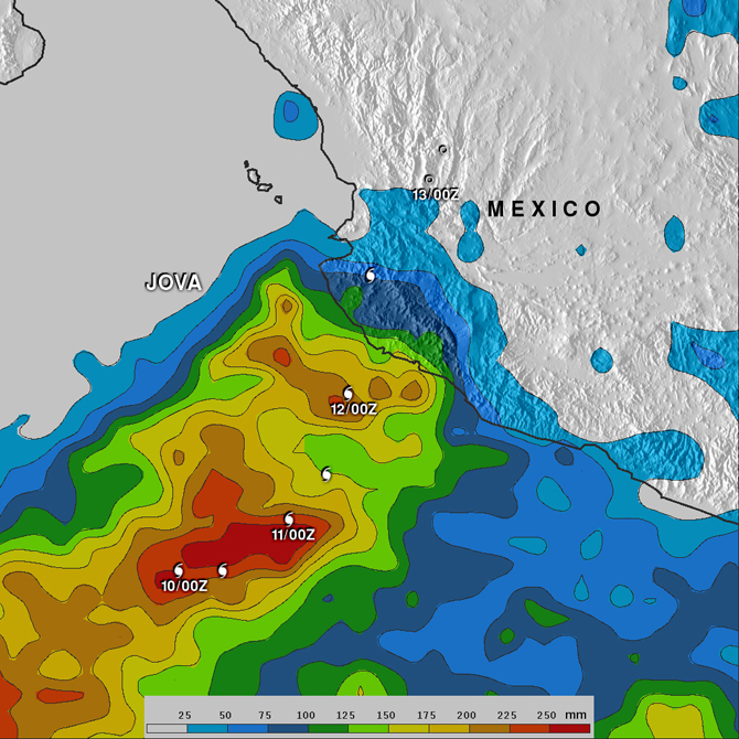 rainmap for Hurricane Jova