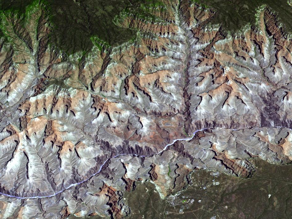NASA's Terra spacecraft captured this 3-D view of Arizona's Grand Canyon