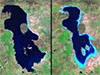 Iran's Lake Oroumeih on August 1985 and August 2010