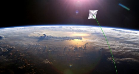 Artist concept of a solar sail over Earth