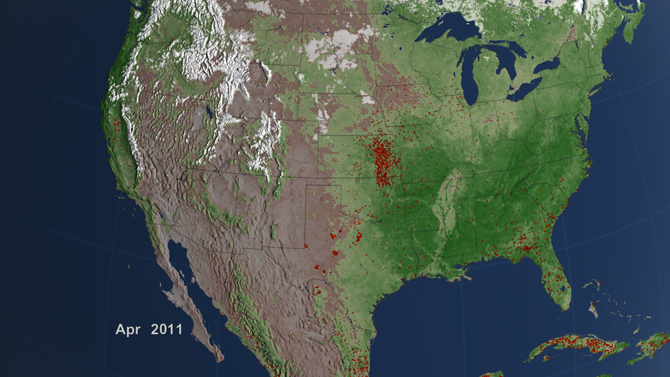 visualization of fires in the United States