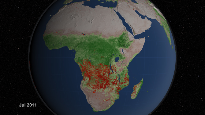 visualization of fires in Africa