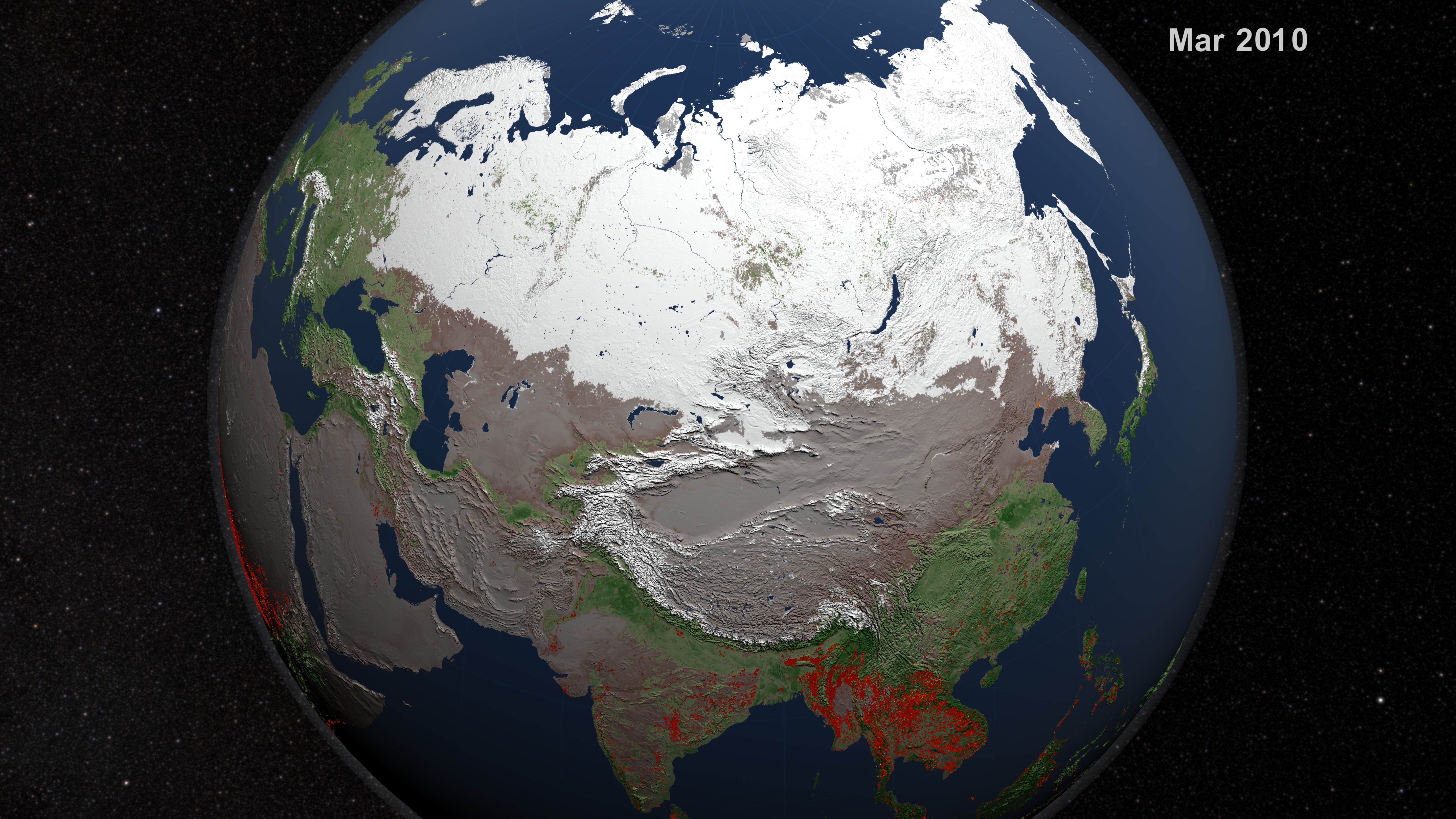 Visualization Of Fires In Asia