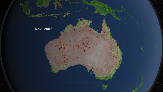visualization of fires in Australia