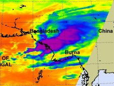 Infrared image of Tropical Storm 02B taken by AIRS on Oct. 19 at 3:35 p.m. EDT after it had made landfall.