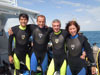 NEEMO 15 crew members prepare for splashdown on Mission Day 1. Left to right: Takuya Onishi, DavidStain-Jacques, SteveSquyres, Shannon Walker,