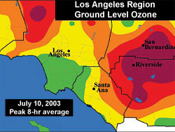 A map of the Los Angeles area, indicating concentrations of tropospheric ozone.