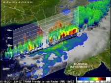A 3-D slice through tropical cyclone 02B with TRMM Precipitation Radar data revealed it contained heavy rainfall (red).