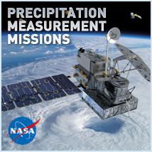 Logo for the Precipitation Measurement Missions website, showing the GPM satellite orbiting Earth.