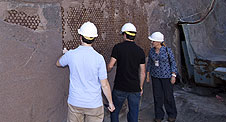 LSU students look over flame trench at Launch Pad 39B