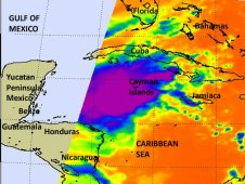 This AIRS infrared image of the eastern half of Tropical Storm Rina was taken on Oct. 24 at 2:47 a.m. EDT.