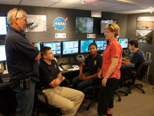 left to right: Bill Todd, NEEMO Mission Manager; Jeremy Hansen and Jeanette Epps, astronaut CAPCOMS; Jane Lubchenko, NOAA Administrator; Zeb Scoville, MOD EVA