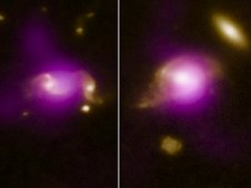 Composite image shows a pair of galaxies undergoing a close encounter.