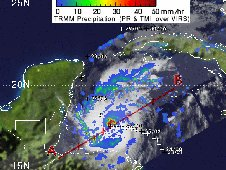 On Oct. 26 at 4:06 a.m. NASA's TRMM satellite noticed areas of heavy rainfall mostly north of Hurricane Rina's eye.