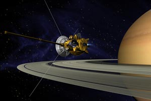 Artist's conception of Cassini Saturn Orbit Insertion