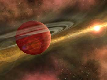 In this artist's conception, a possible newfound planet spins through a clearing in a nearby star's dusty, planet-forming disc