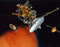 Artist's rendition of the Huygens probe separating from Cassini.