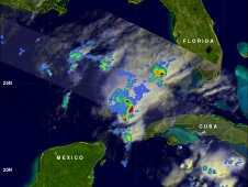 This radar image of Rina's rainfall was captured by the TRMM satellite on Friday, October 28, 2011 at 1425 UTC.