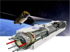The device swooshing into a satellite is the vacuum tube, one of the main components of an atomic clock that will undergo a technology flight demonstration.