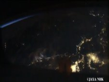 Screenshot of video showing a night view of Japan as seen from the International Space Station taken with the SS-HDTV camera
