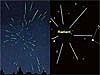 Distant and close-up views of meteors coming from a central location