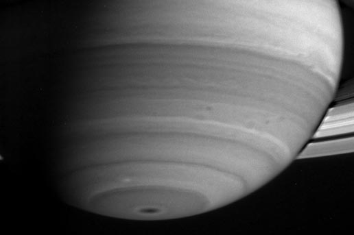 This image shows the delicate banded nature of Saturn's atmosphere