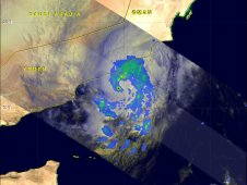 TRMM image of Tropical Storm Keila's rainfall on Nov. 2, 2011 at 0350 UTC (11:50 p.m. EDT, Nov. 1).