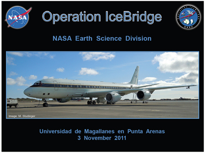 NASA's Operation IceBridge is currently flying a nearly two-month campaign from a base of operations in Punta Arenas, Chile over the changing glaciers, ice sheets and sea ice of Antarctica.