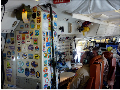 The mission manager station reveals the many airborne science campaigns the plane has flown over the years with a sticker from each.