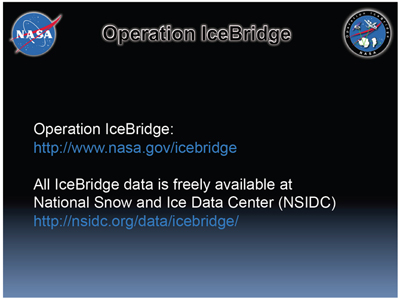 Please read more about IceBridge or find IceBridge data at these websites.