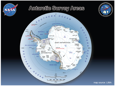 Map of Antarctica generated by Landsat.