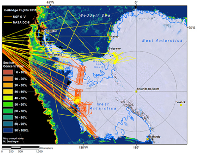 A map of all the Antarctic 2011 flight lines to date, with the DC-8's flights in yellow and the Gulfstream-V's flights in orange.