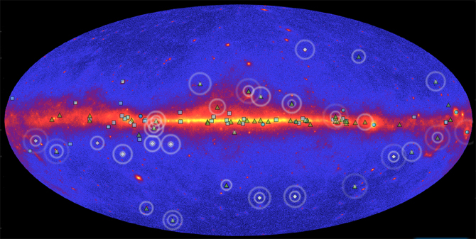 screen shot of Fermi interactive showing all-sky map