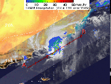 Radar image of Tropical Storm Kelia's rainfall captured by the TRMM satellite on Nov. 2, 2011 at 1843 UTC