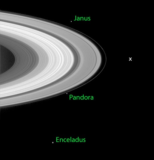 Image of Cassini and a few of its moons