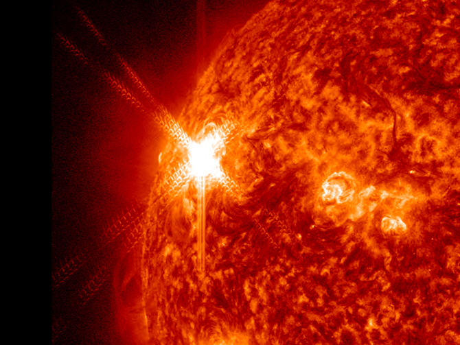 Close-up of solar flare from November 3, 2011 as captured by SDO.