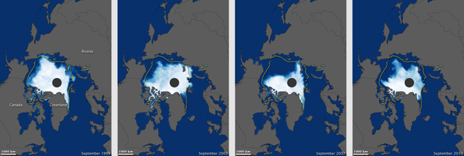 Arctic sea ice coverage in (left to right) September 1999, 2003, 2007, and 2010