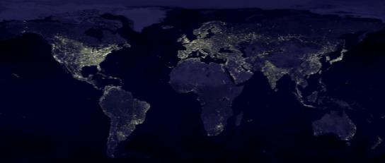 world map of city lights