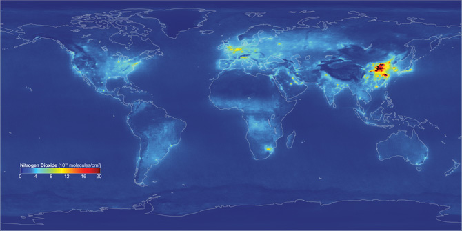 world map of nitrogen dioxide measurements