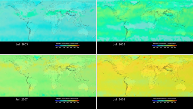 global carbon dioxide maps