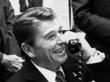 President Reagan at Mission Control