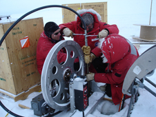 The team tested its hot-water drill in Windless Bight, near McMurdo station, during the 2010-11 Antarctic field season.