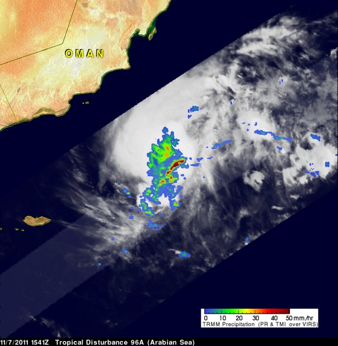 On November 2011, TRMM passed over another stormy area heading toward Oman from the Arabian sea.