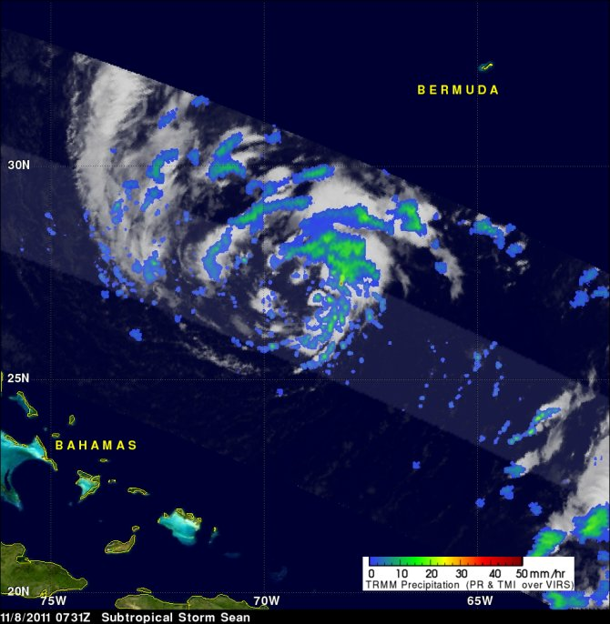 The TRMM satellite flew directly above Sean a little earlier on 8 November 2011 at 0731 UTC ( 2:31 AM EST)