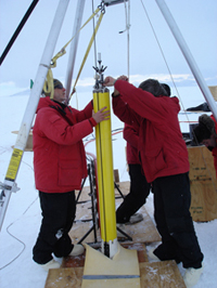 At Windless Bight, the scientists practiced lowering the ocean profiler down a drill hole into the ocean beneath the ice.